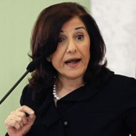 Bouthaina Shaaban, adviser of Syria's President Bashar al-Assad, speaks at a news conference in Damascus, Mar 24, 2011