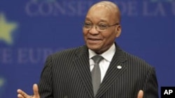 South Africa's President Jacob Zuma addresses the media at the European Council building in Brussels, Tuesday, Sept. 28, 2010. (AP Photo/Yves Logghe)