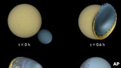 Simulacija udara znatno manjeg mjeseca u površinu većeg, pri čemu se njihove dvije mase jednostavno spoje ... kao kad se jedan sapun zalijepi za drugi