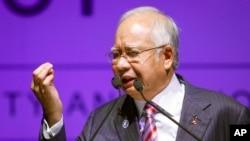 នាយករដ្ឋមន្ត្រីម៉ាឡេស៊ី លោក Najib Razak ថ្លែងក្នុងសន្និសីទយុទ្ធសាស្ត្រមហាសមុទ្រខៀវជាតិ កាលពីថ្ងៃទី១៦ ខែសីហា ឆ្នាំ២០១៦។