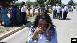총격 사건이 일어난 위스콘신 주 밀워키 외곽에 있는 시크교 사원 인근 도로