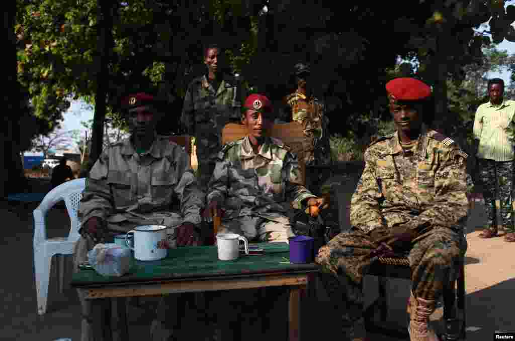 Ex-Seleka rebel soldiers are pictured at their base in Bossangoa, north of Bangui, Jan. 2, 2014.