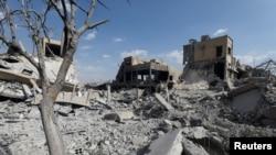 Damascus ၿမိဳ႔က ဆီးရီးယား သိပၸံသုေသသနဌာန ပ်က္စီးသြားပုံ၊ ဧၿပီ ၁၄၊ ၂၀၁၈။