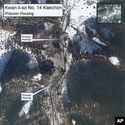 A January 2003 satellite image of the Kwan-li-so Number 14 Kaechon prisoner camp in North Korea