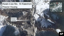 A January 2003 satellite image of the Kwan-li-so Number 14 Kaechon prisoner camp in North Korea, part of a U.S. Committee for Human Rights in North Korea report that contains more than 30 pages of satellite photographs of North Korea's prison camp system.