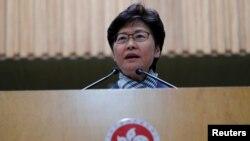 香港特首林鄭月娥當地時間11月19日就警方對香港理工大學校園包圍行動舉行記者會。