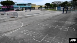 A photograph taken on May 5, 2020, shows a courtyard of the Louis Pasteur elementary school closed due to the spread of the COVID-19 in Palavas les Flots, near Montpellier, southern France.