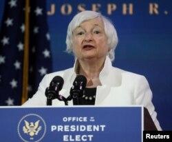 FILE - Janet Yellen, U.S. President-elect Joe Biden's nominee to be treasury secretary, speaks in Wilmington, Delaware, Dec. 1, 2020.