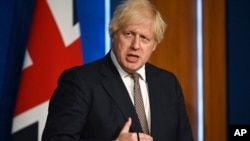 Britain's Prime Minister Boris Johnson speaks during a media briefing on coronavirus in Downing Street, London, July 5, 2021.
