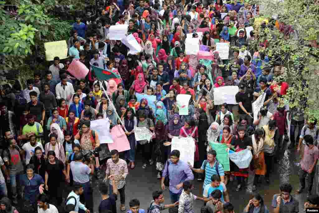 هزاران معترض در شهر داکا در بنگلادش تظاهرات کردند. آنها به مرگ یک دختر و پسر بچه در تصادفی در این شهر اعتراض دارند.