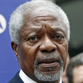 UN-Arab League envoy Kofi Annan addresses media (March 13, 2012 file photo)