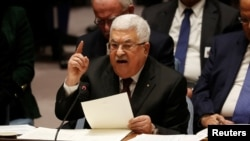 Presiden Palestina Mahmoud Abbas berbicara selama pertemuan Dewan Keamanan di Perserikatan Bangsa-Bangsa di New York, AS, 11 Februari 2020. (Foto: REUTERS/Shannon Stapleton)