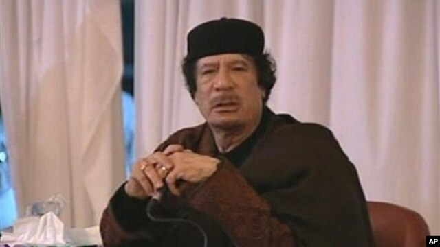 Moammar Gadhafi in an image taken from Libya State TV, March 15, 2011