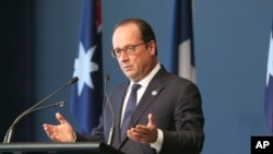 French President Francois Hollande speaks in Canberra, Australia, Wednesday.