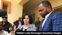 La responsable de la Mission des Nations unies en République démocratique du Congo (Monusco), Leila Zerrougui, aux côtés du gouverneur de la province de l'Ituri, à Bunia, 10 avril 2018. (Twitter/ Leila Zerrougui)