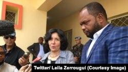 La responsable de la Mission des Nations unies en République démocratique du Congo (Monusco), Leila Zerrougui, aux côtés du gouverneur de la province de l'Ituri, à Bunia, 10 avril 2018. (Twitter/ Leila Zerrougui)