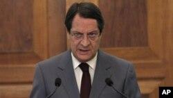 28일 니코스 아나스티아데스 키프로스 대통령이 니코시아 대통령 궁에서 기자회견을 가졌다.