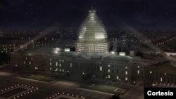 Así se verá el Capitolio cubierto con los andamios mientras es reparado.