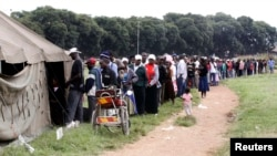 FILE: People queue to vote in a referendum at a polling station in Harare, March 16, 2013.