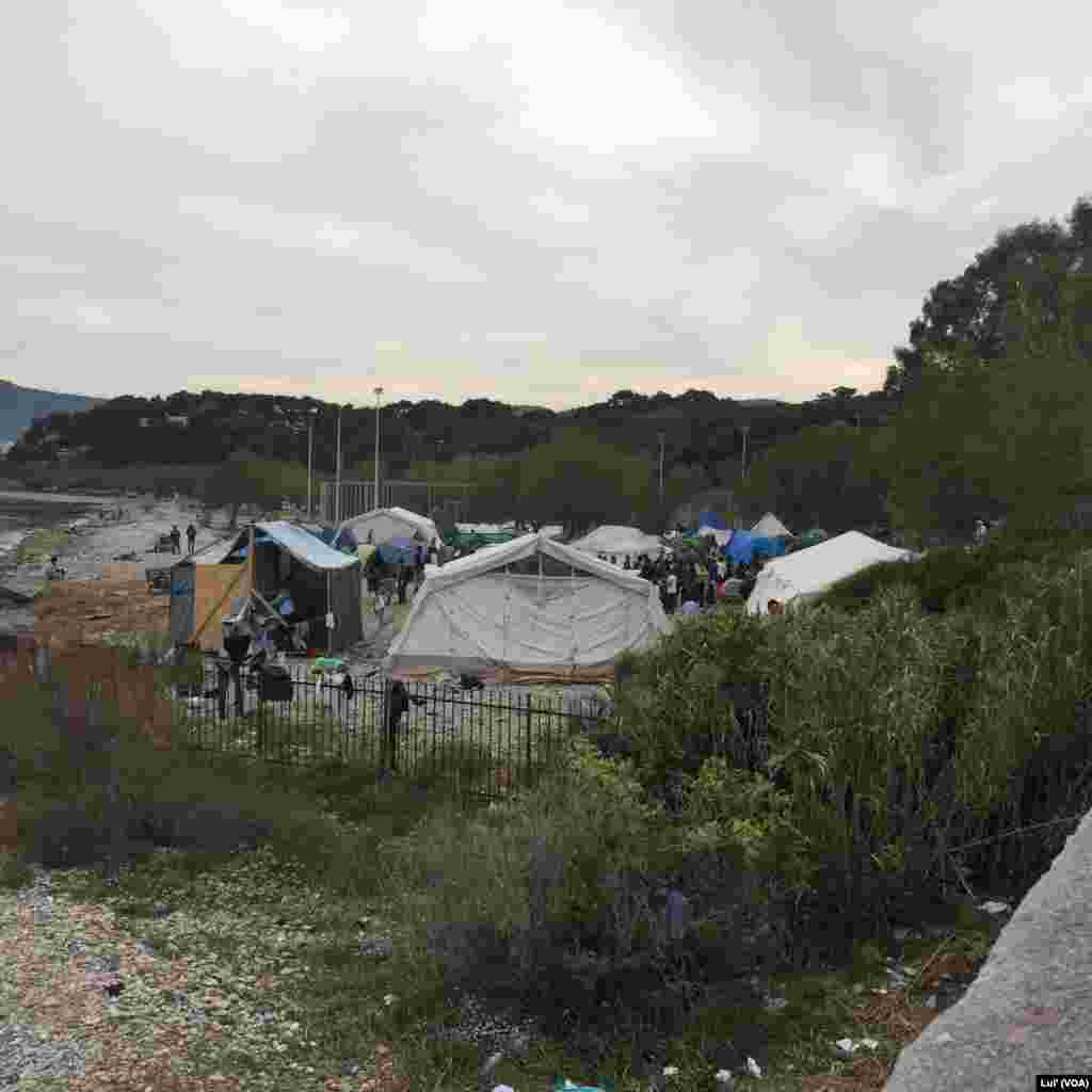 An unofficial migrant camp outside Lesbos' main city, Mytilini, April 2, 2016.