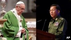 教宗方济各与缅甸军队首领敏昂莱