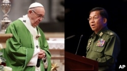 Pope and Myanmar Army Chief