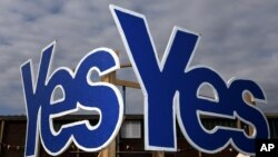 Yes Signs are displayed in Eyemouth, Scotland as the battle to decide the future of Scotland and the UK enters its final week, Sept. 8, 2014.