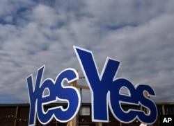 苏格兰艾茅斯支持独立的标记。