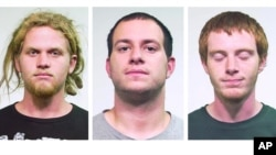 From left: Brent Vincent Betterly, 24, of Oakland Park, Fla., Jared Chase, 24, of Keene, N.H., and Brian Church, 20, of Ft. Lauderdale, Fla. The three men arrested May 16, 2012, in Chicago, accused of making Molotov cocktails