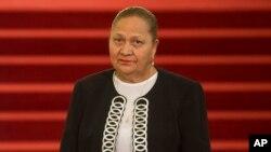 n esta fotografía de archivo del 16 de mayo de 2018, María Consuelo Porras Argueta asiste a su ceremonia de juramentación como Fiscal General en el Palacio Nacional en la Ciudad de Guatemala.