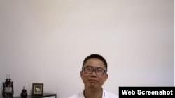 剛出獄回到家的劉賢斌。 (2020年6月27日)(截圖自維權網)