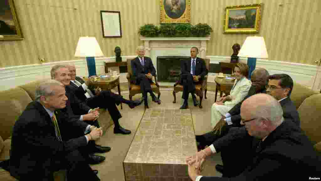 President Barack Obama meets with U.S. House of Representative leadership at the White House.