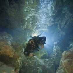 Kenny Broad dives in Dan's Cave on Abaco