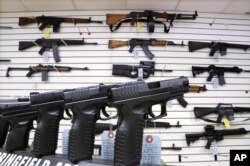 FILE - Assault weapons and hand guns are seen for sale at Capitol City Arms Supply in Springfield, Ill.