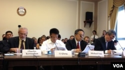 专家学者就中国劳工现状在国会前作证 (美国之音方方拍摄)