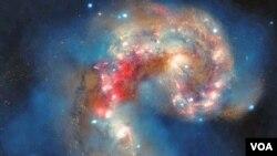Galaksi Antennae, yang terletak sekitar 62 milyar tahun cahaya dari bumi tertangkap teleskop Hubble NASA (foto: dok).