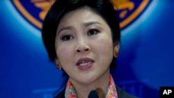 5月7日泰国总理英拉对记者发表谈话
