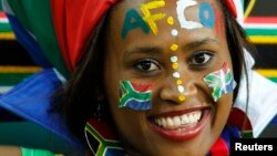 A fan of South Africa is pictured before the team's international friendly soccer match against Algeria in Soweto, January 12, 2013.