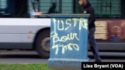 Graffiti in Bobigny calling for justice for Theo, a 22-year-old black man allegedly assaulted by police officers during an identity check.