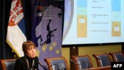 Direktorka vladine Kancelarije za evropske integracije Milica Delević govori o istraživanju javnog mnjenja o stavovima gradjana o Evropskoj uniji