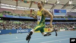 South Africa's Oscar Pistorius competes in a qualification round for the Men's 4x400m relay at the World Athletics Championships in Daegu, South Korea, September 1, 2011.