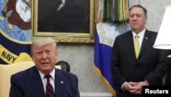 美國總統特朗普和國務卿蓬佩奧在白宮(資料圖片)