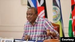 Rais wa Kenya Uhuru Kenyatta baada ya kukabidhiwa uenyekiti wa Jumuiya ya Afrika Mashariki (EAC) Jumamosi Februari 27, 2021