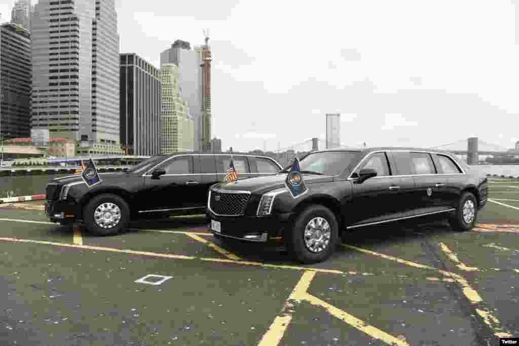 """美国特勤局2018年9月24日在推特(Twitter)上发布了美国总统新的专用轿车照片,并表示""""特勤局已经准备好进入2018年联合国大会!""""这是两辆由通用汽车公司(General Motors Co .)定制的凯迪拉克(Cadillac)轿车。"""