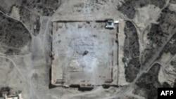 유엔이 31일 공개한 시리아 팔미라 벨 신전의 폭파후 모습.