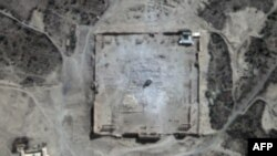 This handout picture provided by UNITAR-UNOSAT shows a close-up of a satellite-acquired image, with rubble seen at the location of the Temple of Bel in Syria's ancient city of Palmyra, Aug. 31, 2015. (UNITAR-UNOSAT / URTHECAST)