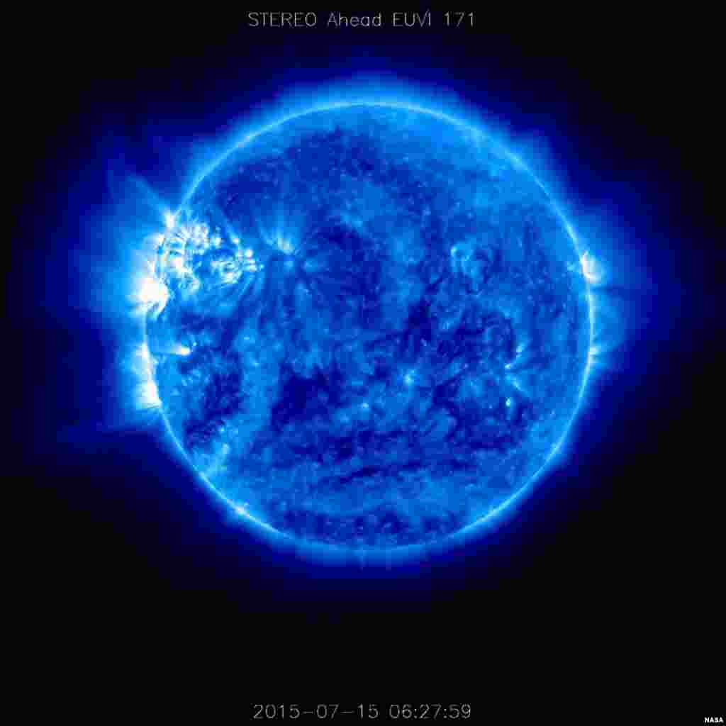 This image of the sun was taken on July 15, 2015, with the Extreme Ultraviolet Imager onboard NASA's Solar TErrestrial RElations Observatory Ahead (STEREO-A) spacecraft, which collects images in several wavelengths of light that are invisible to the human eye. This image shows the sun in wavelengths of 171 angstroms, typically colorized in blue. Image released, July 17, 2015.