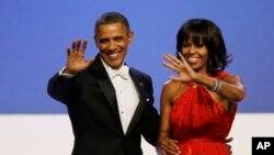 Tổng thống Obama và Ðệ nhất Phu nhân Michelle tại dạ vũ nhậm chức ở thủ đô Washington, ngày 21/1/2013.