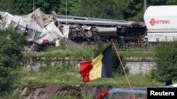 En Belgique, le crash de train a fait trois morts, tout près de la municipalité de Sant-Goerges-sur-Meuse, le 6 juin 2016.