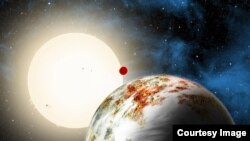 "The newly discovered ""mega-Earth"" Kepler-10c dominates the foreground in this artist's conception. (David A. Aguilar (CfA)"